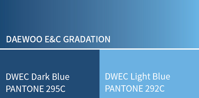 DAEWOO E&C GRADATION, DWEC Dark Blue PANTONE 295C, DWEC Light Blue PANTONE 292C